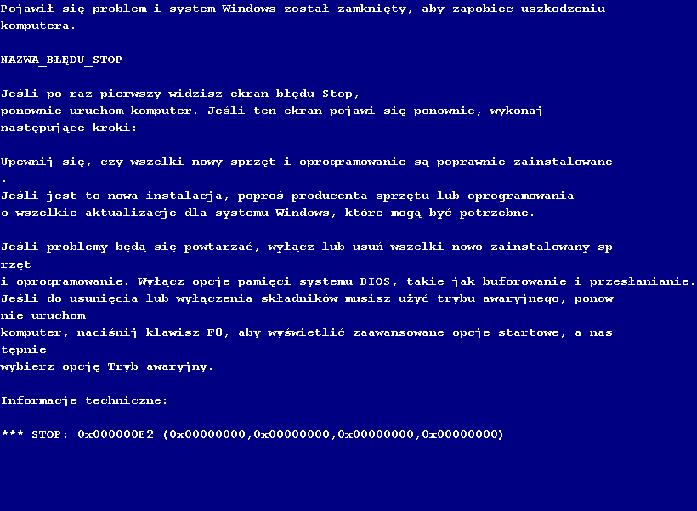 Niebieski ekran - Blue Screen